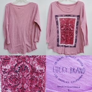 LUCKY BRAND 3/4 Sleeve pink graphic tshirt LARGE
